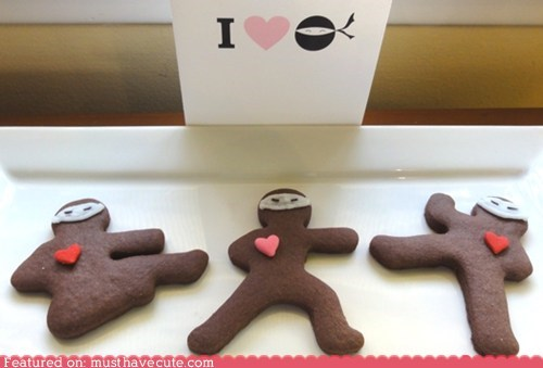 cookies,epicute,gingerbread,hearts,ninjas,Valentines day
