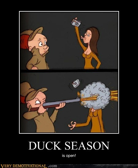 Elmer Fudd Duck Season http://cheezburger.com/5807656192