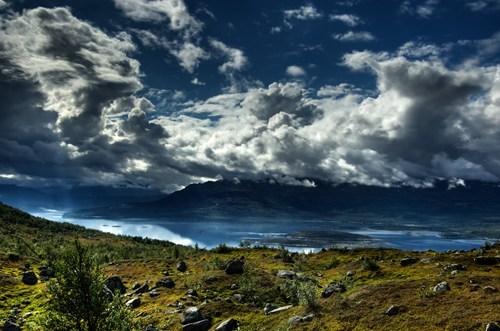 blue,clouds,europe,getaways,green,landscape,national park,scandinavia,Sweden,white