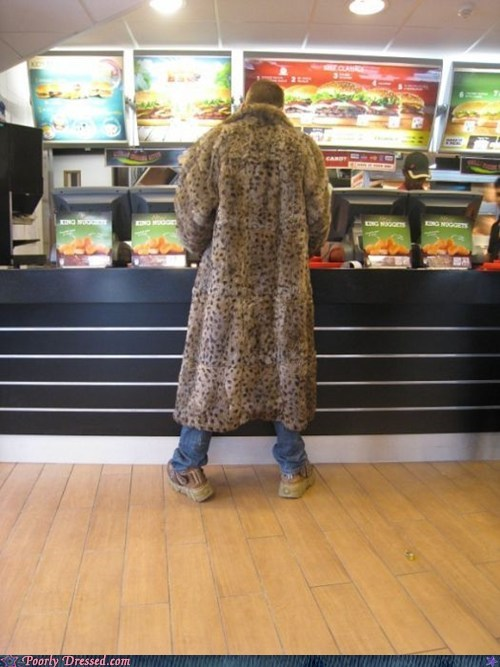 coat,fast food,fur coat,leopard print,pimp