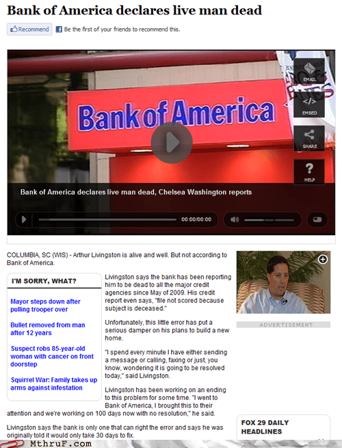 bank of america,insane,live man dead