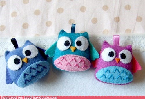 felt,handmade,key chains,owls,Plush