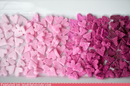 epicute,food coloring,hearts,ombre,pink,sugar cubes