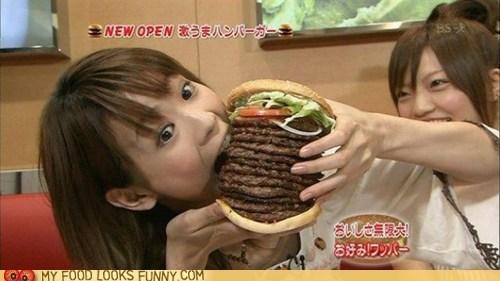 12 patties,burger,eat,giant,girl,wrong