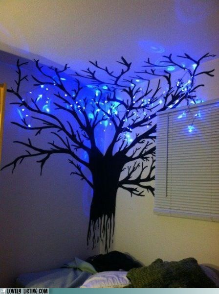 lights,paint,room,tree,wall