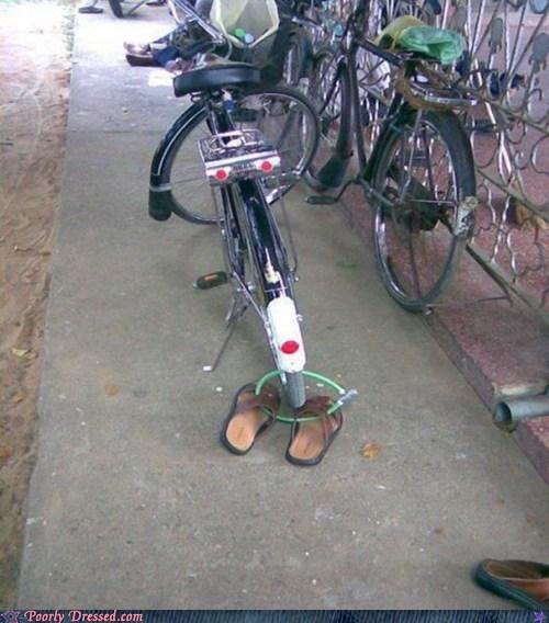 bike lock,flip flops,security,shoes