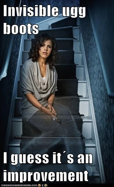 annie,being human,ghost,improvement,invisible,lenora crichlow,ugg boots