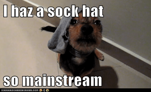 I haz a sock hat  so mainstream