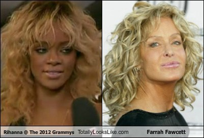 Rihanna @ The 2012 Grammys Totally Looks Like Farrah Fawcett