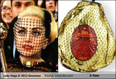 Lady Gaga @ 2012 Grammys Totally Looks Like A Ham