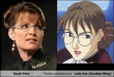 Sarah Palin Totally Looks Like Lady Une (Gundam Wing)