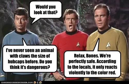 animal,Captain Kirk,DeForest Kelley,look at that,red,redshirt,safe,Shatnerday,Star Trek,violent,William Shatner