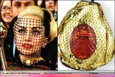 Lady Gaga @ 2012 Grammy Awards Totally Looks Like A Ham