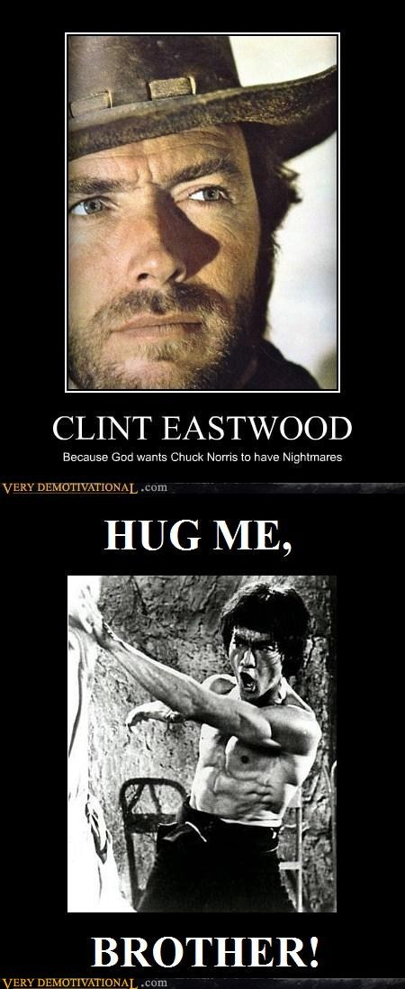 bruce lee,Clint Eastwood,hug,Pure Awesome