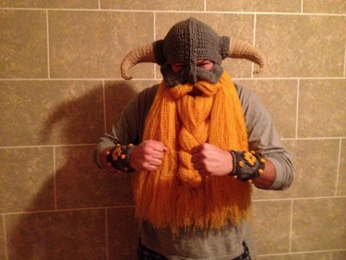Crocheted Skyrim Helm and Beard of the Day