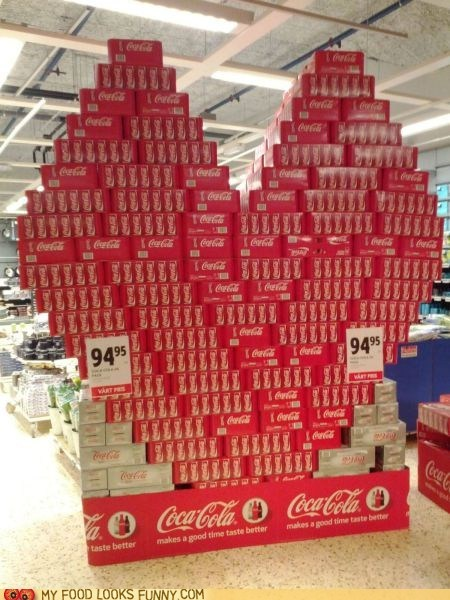 coca cola,coke,display,heart,stack,store,Valentines day