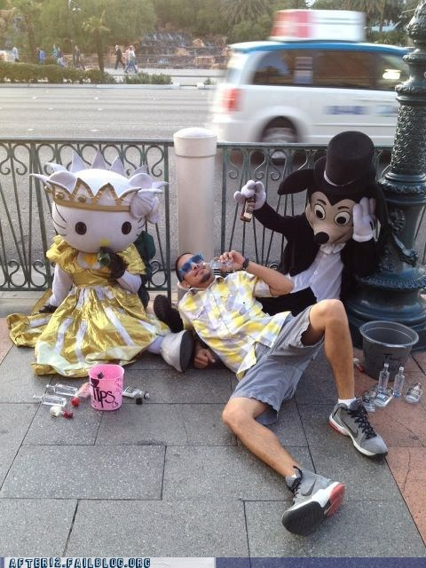 drunk,hello kitty,mickey mouse,passed out,sidewalk,threesome,vegas