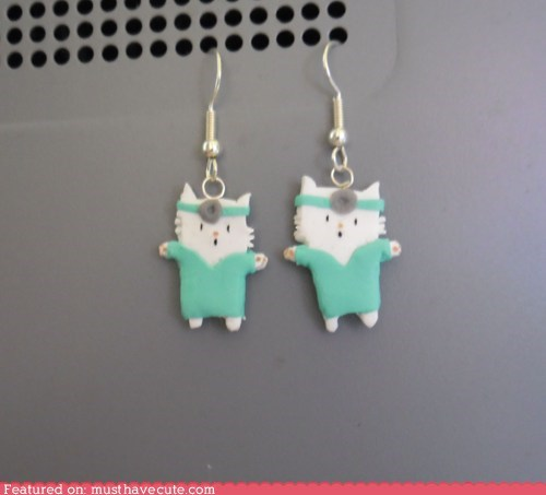dr tinycat,earrings,Jewelry,kitty