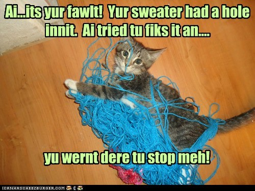 accident,caption,captioned,cat,fault,fix,hole,human,mess,sweater,unraveled,yarn