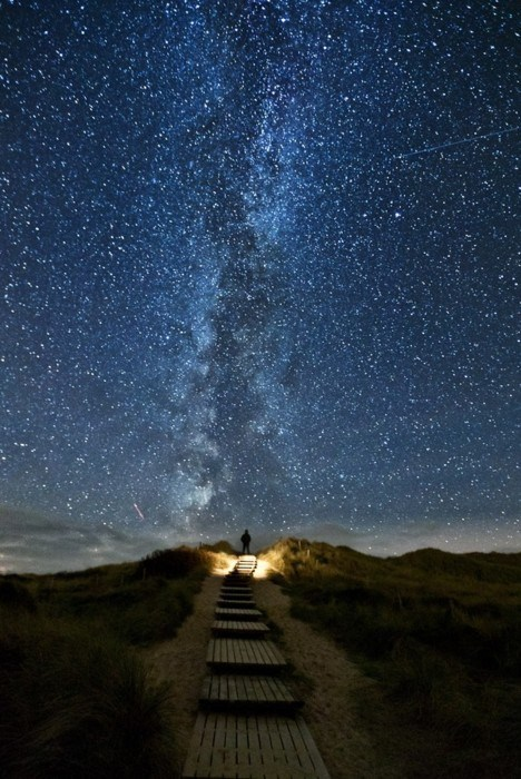 Long Exposure of The Milky Way on the Coast of the North Sea