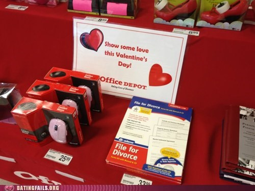 divorce,office depot,retail,romantice,true love,Valentines day