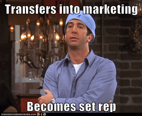 Transfers into marketing  Becomes set rep