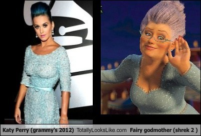 Katy Perry (Grammy's 2012) Totally Looks Like Fairy Godmother (Shrek 2 )