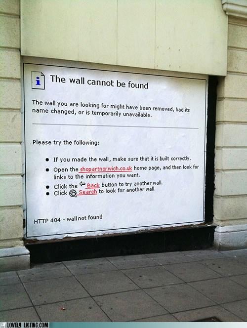 404,computer,error,printout,wall