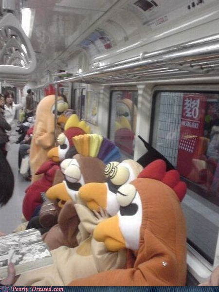 chickens,commuting,costume,g rated,morning commute,nothing to see here,poorly dressed,regular