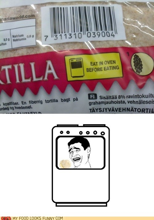 instructions,label,oops,oven,package,tortillas,typo
