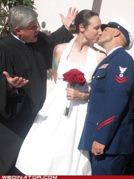 bride,funny wedding photos,groom,judge,KISS,Valentines day