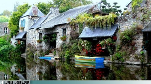 boat,canal,house,narcissus,river,stone,vanity,water