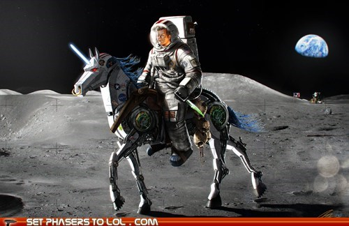 JFK Rides a Robot Unicorn on the Moon