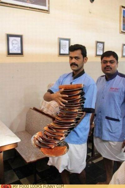 impressive,moustache,plates,stack,waiter