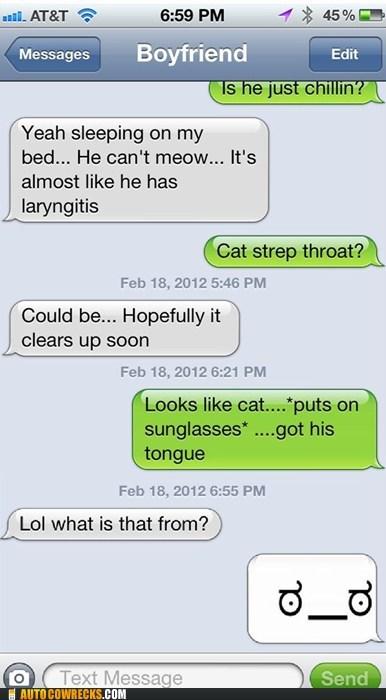 cat,cat got your tongue,Cats,csi,pun,strep throat