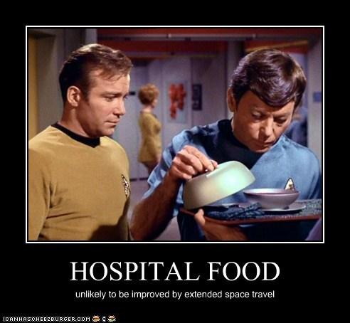Captain Kirk,DeForest Kelley,food,hospital,McCoy,Shatnerday,Star Trek,William Shatner