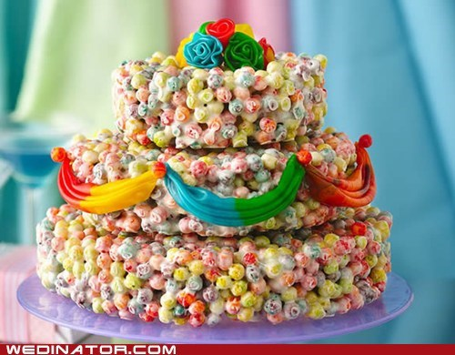 candy,cereal,fruit rollups,funny wedding photos,snacks,trix,wedding cake