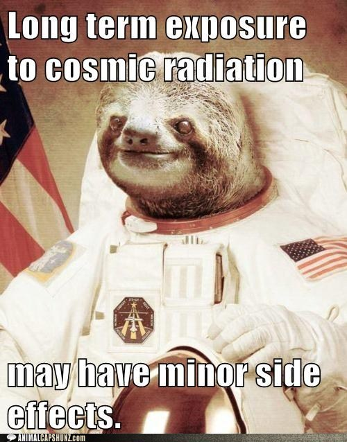 astronaut,caption contest,cosmic radiation,radiation,side effects,sloth,space sloth