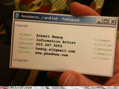 business card,creative,information artist,writing code