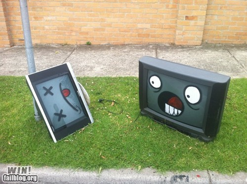 graffiti,hacked irl,murder,recycle,television