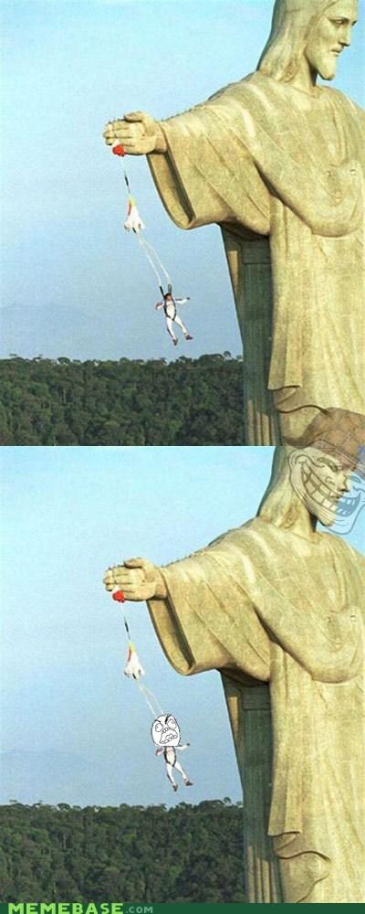 jesus,parachute,Scumbag Steve,statue