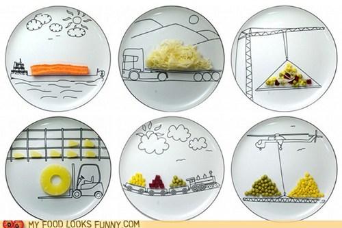 ceramic,construction equipment,plates,printed,tableware