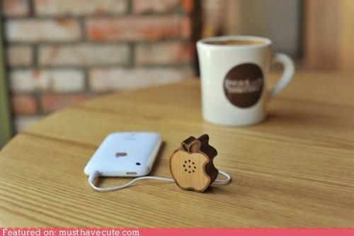apple,electronics,iphone,Music,speaker,wood