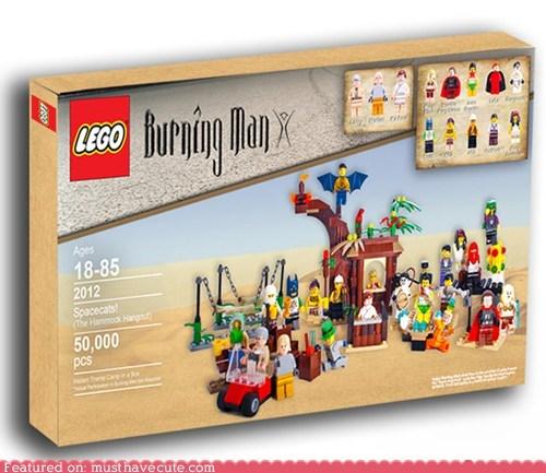 burning man,concept,fake,hippies,lego,theme camp