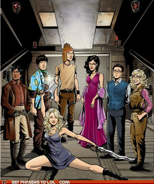 big bang theory,captain malcolm reynolds,characters,Firefly,mashup,river tam,serenity,sheldon