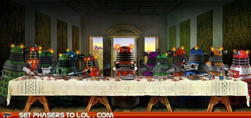 cartoons,daleks,doctor who,leonardo da vinci,painting,the last supper