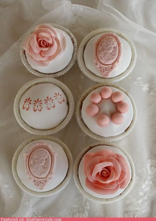 cameo,cupcakes,epicute,fondant,pink,roses,white
