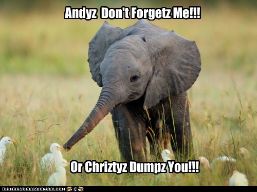 Andyz  Don't Forgetz Me!!!