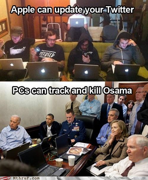 america,apple,barack obama,computer,laptop,mac,Osama Bin Laden,osama bin laden raid,PC,seal team 6