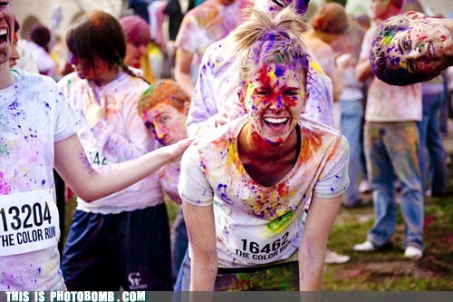 awesome,color bomb,color run,sideways